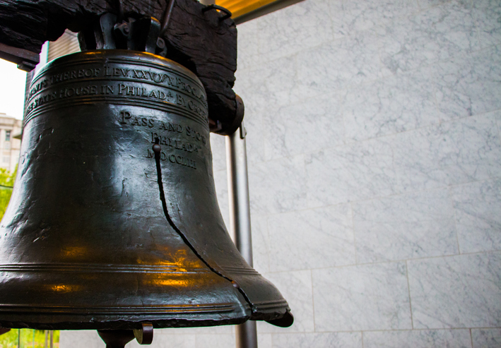 A Close-Up Of The Brass Liberty Bell That Was Once Located At The Top Of Independence Hall