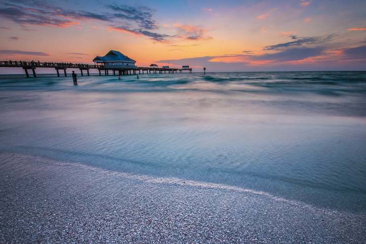Sun setting over a vibrant horizon in the Clearwater beach, Florida