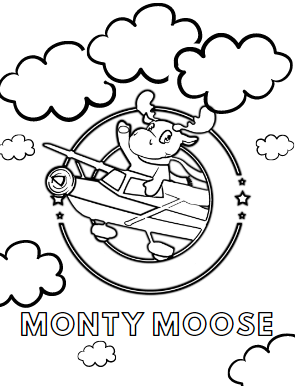 monty moose logo graphic coloring page for kidsZone
