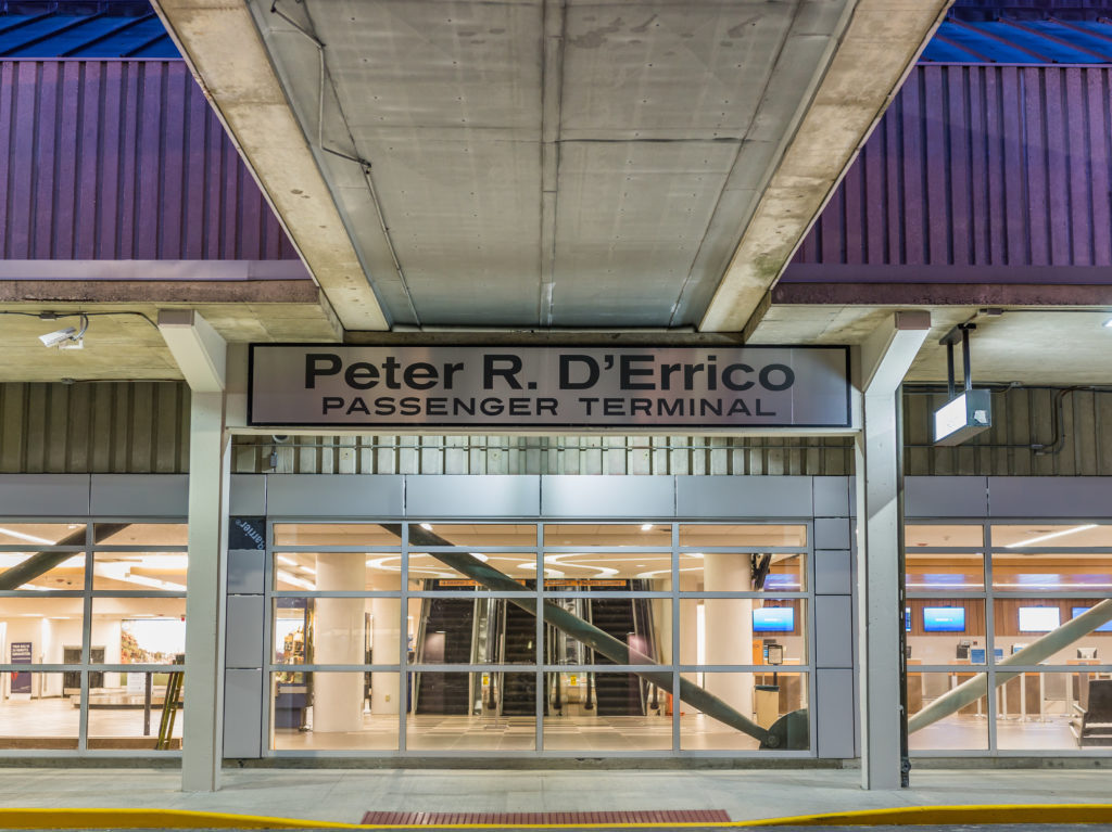 exterior photo of peter r. D'Errico passenger terminal entrance and sign